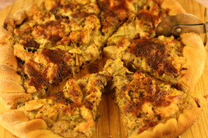 Chicken with leeks pizza