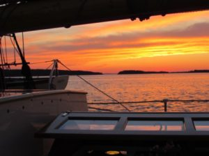 Maine sunset aboard Mary day